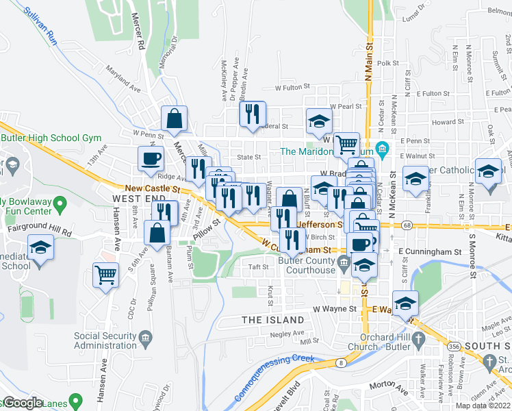 map of restaurants, bars, coffee shops, grocery stores, and more near 109-117 Broad Street in Butler