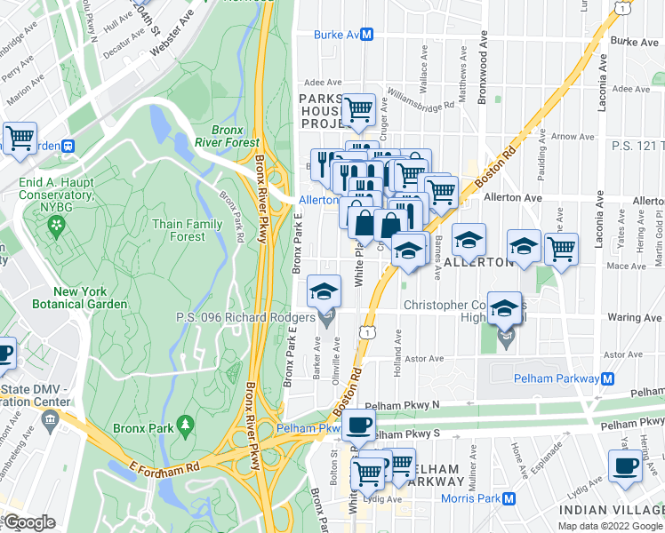 map of restaurants, bars, coffee shops, grocery stores, and more near 660 Mace Avenue in Bronx