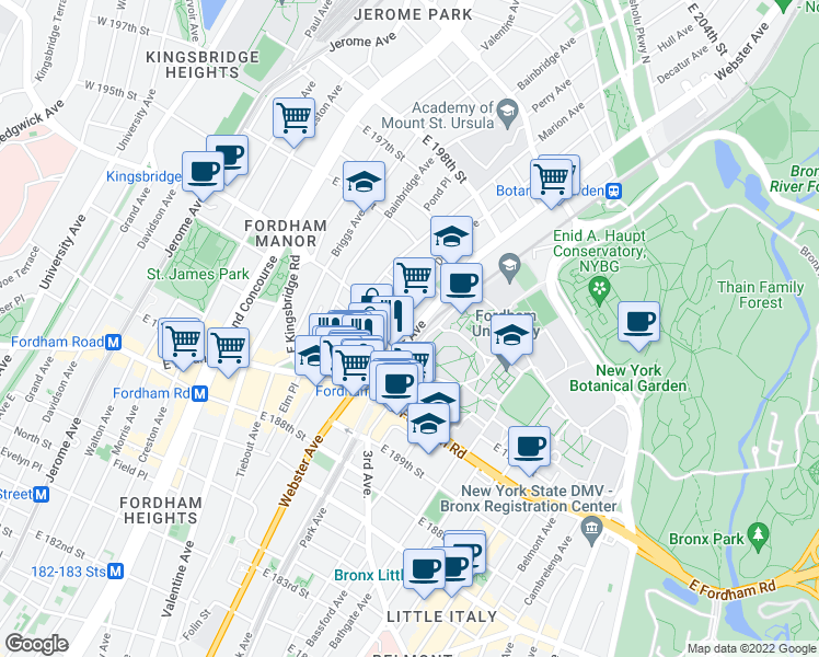 map of restaurants, bars, coffee shops, grocery stores, and more near 2595 Webster Avenue in Bronx