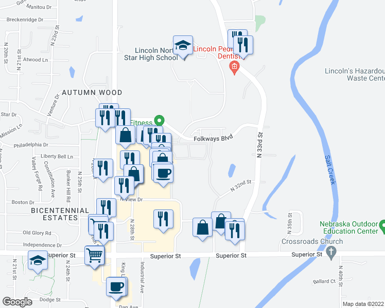 map of restaurants, bars, coffee shops, grocery stores, and more near 3101 North Hill Road in Lincoln