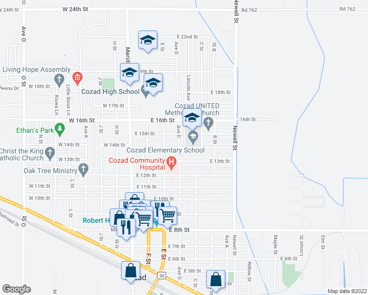 map of restaurants, bars, coffee shops, grocery stores, and more near 416 East 13th Street in Cozad