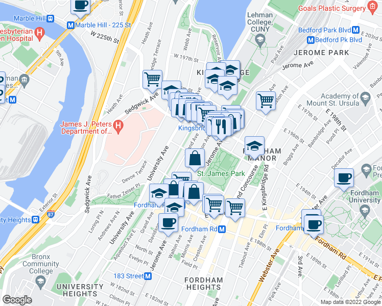 map of restaurants, bars, coffee shops, grocery stores, and more near 2546 Grand Avenue in Bronx