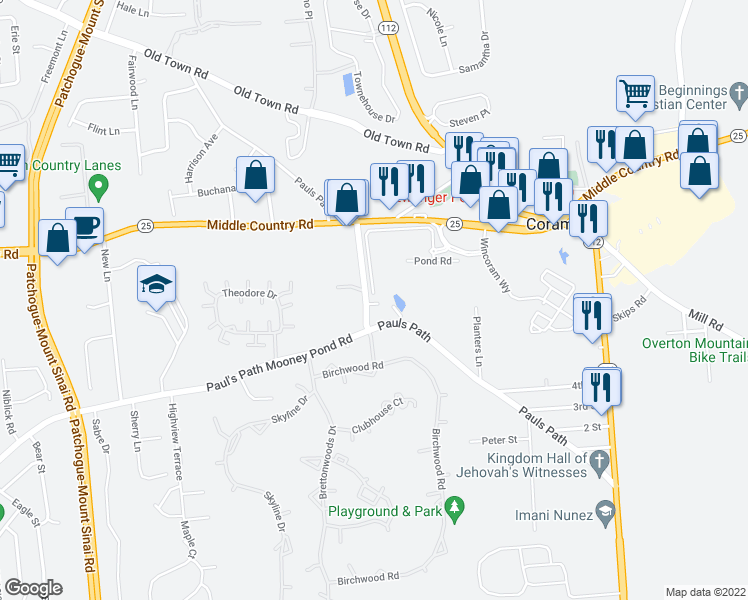 map of restaurants, bars, coffee shops, grocery stores, and more near Mooney Pond Road in Coram