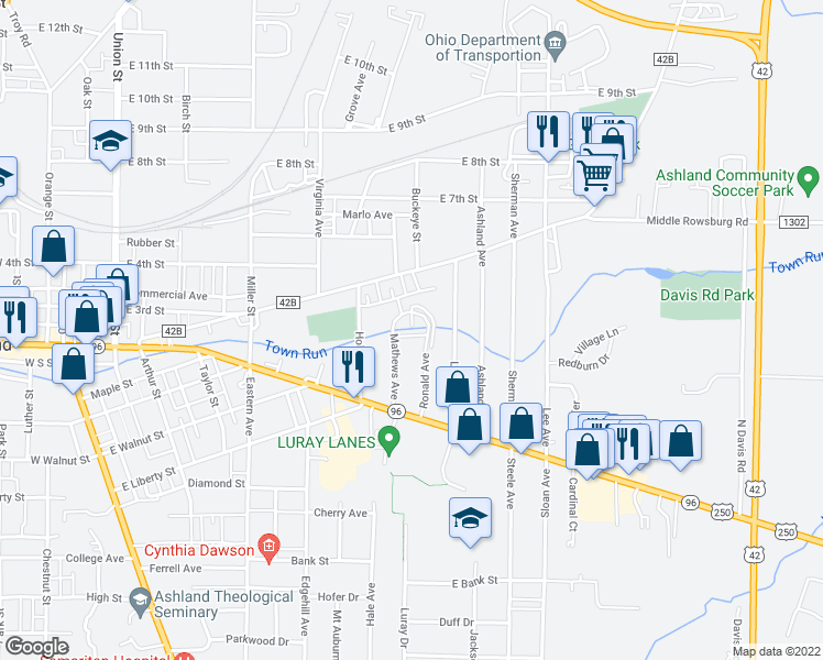 map of restaurants, bars, coffee shops, grocery stores, and more near 265 Ronald Avenue in Ashland