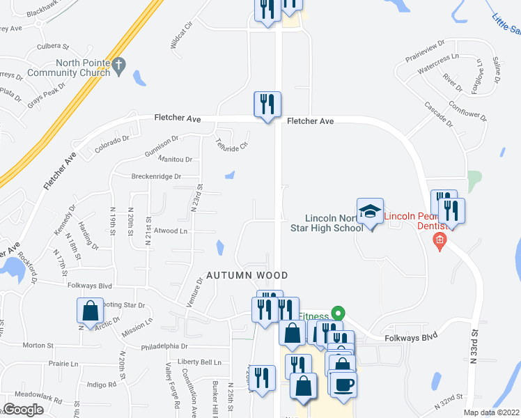 map of restaurants, bars, coffee shops, grocery stores, and more near 5904 Wolff Lane in Lincoln