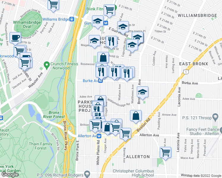 map of restaurants, bars, coffee shops, grocery stores, and more near 3032 Cruger Avenue in Bronx