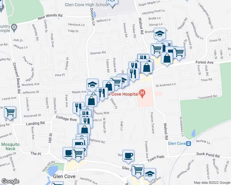 map of restaurants, bars, coffee shops, grocery stores, and more near 39 Forest Avenue in Glen Cove
