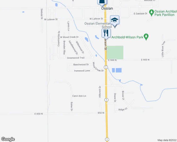 map of restaurants, bars, coffee shops, grocery stores, and more near Ironwood Lane in Ossian