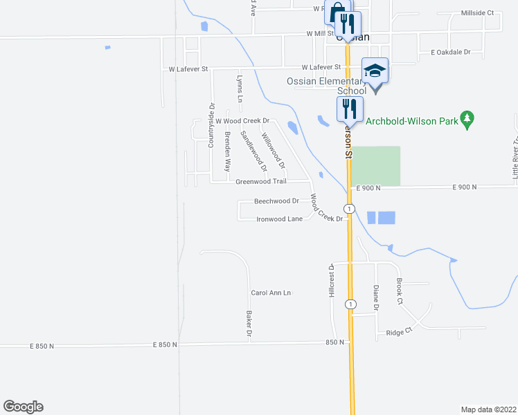 map of restaurants, bars, coffee shops, grocery stores, and more near 423 Beechwood Drive in Ossian