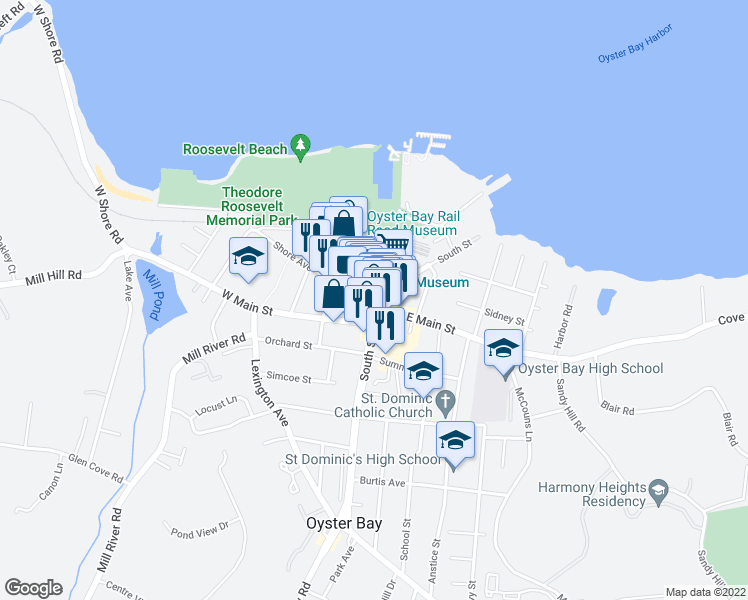map of restaurants, bars, coffee shops, grocery stores, and more near 10 Audrey Avenue in Oyster Bay