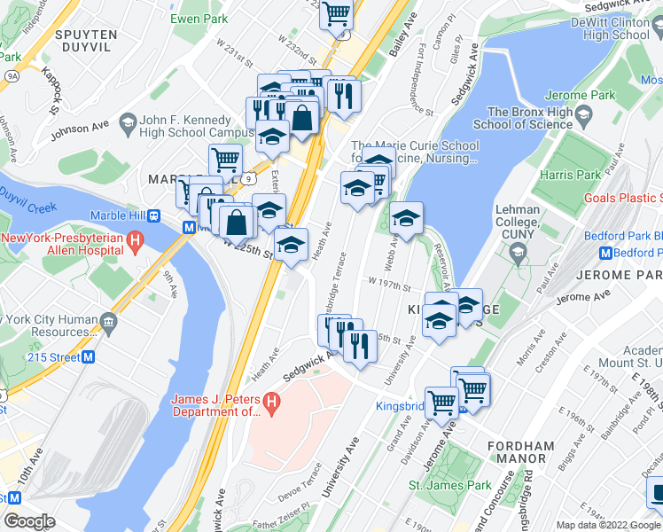 map of restaurants, bars, coffee shops, grocery stores, and more near 2787 Kingsbridge Terrace in Bronx