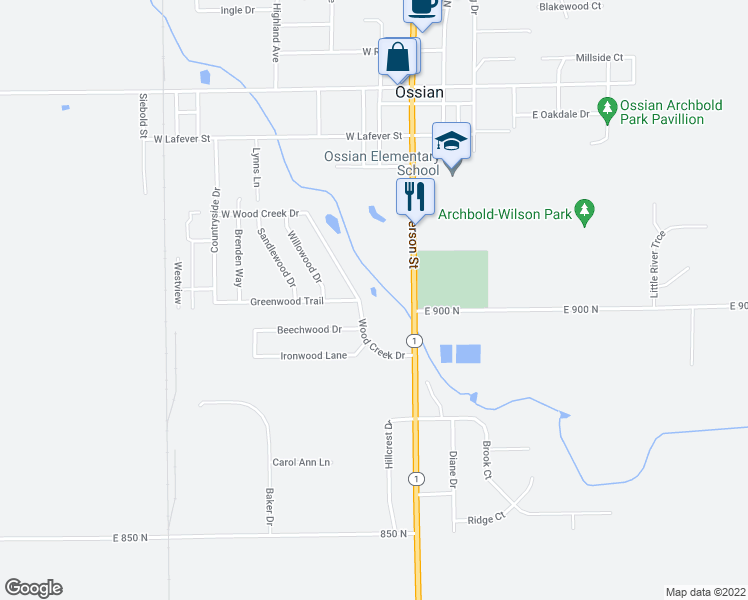 map of restaurants, bars, coffee shops, grocery stores, and more near 901 Woodcreek Drive in Ossian