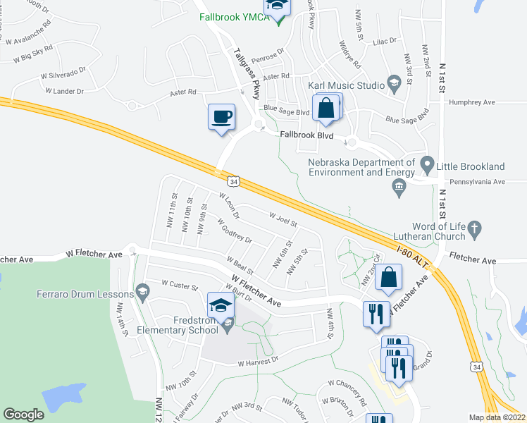 map of restaurants, bars, coffee shops, grocery stores, and more near West Joel Street in Lincoln