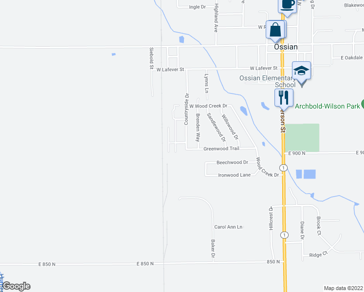 map of restaurants, bars, coffee shops, grocery stores, and more near in Ossian
