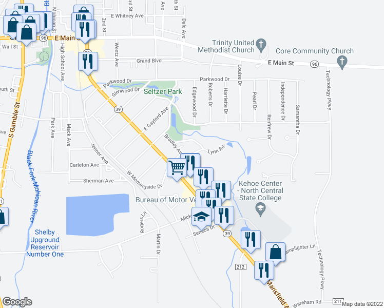 map of restaurants, bars, coffee shops, grocery stores, and more near Woodland Road in Shelby