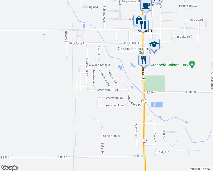 map of restaurants, bars, coffee shops, grocery stores, and more near 710 Sandlewood Drive in Ossian