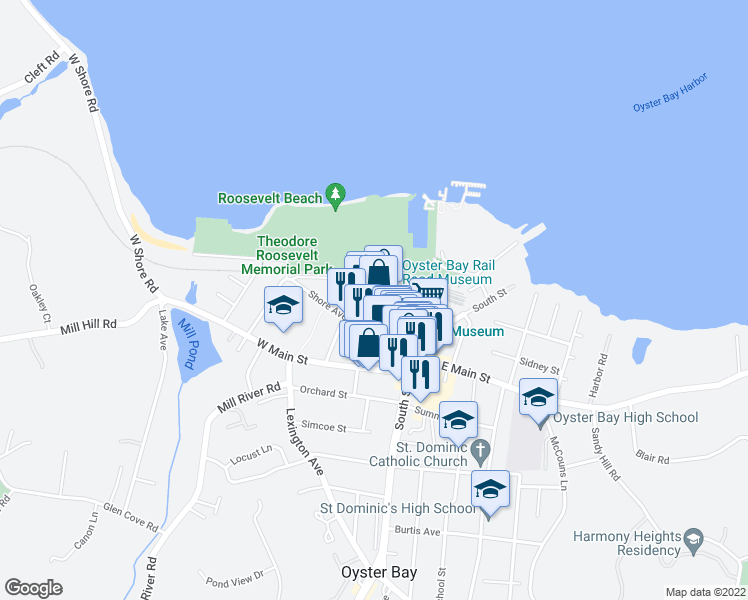 map of restaurants, bars, coffee shops, grocery stores, and more near 110 Audrey Avenue in Oyster Bay