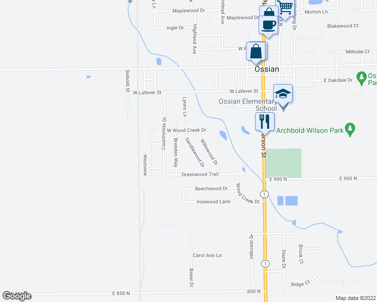 map of restaurants, bars, coffee shops, grocery stores, and more near 510 Sandlewood Drive in Ossian