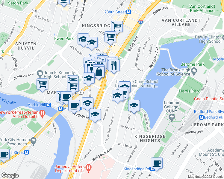 map of restaurants, bars, coffee shops, grocery stores, and more near 3007-3021 Bailey Avenue in Bronx