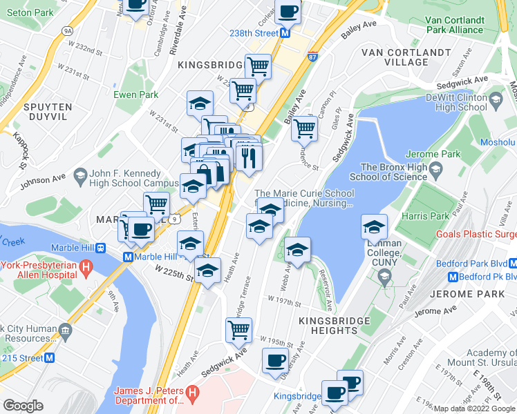 map of restaurants, bars, coffee shops, grocery stores, and more near 3001-3019 Albany Crescent in Bronx