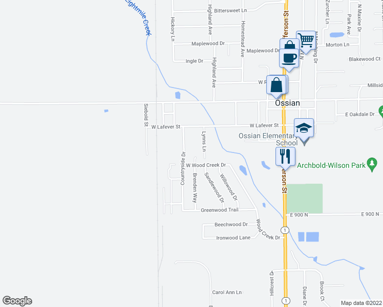 map of restaurants, bars, coffee shops, grocery stores, and more near 312 Brenden Way in Ossian