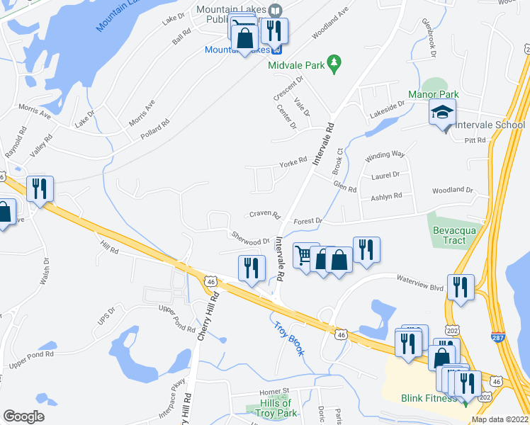 map of restaurants, bars, coffee shops, grocery stores, and more near Craven Road in Mountain Lakes
