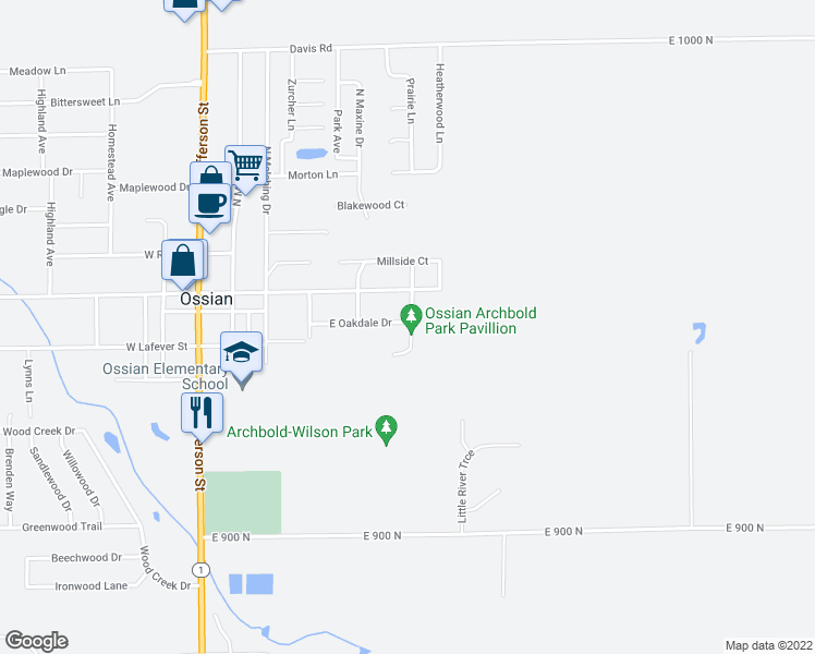 map of restaurants, bars, coffee shops, grocery stores, and more near 112 North Braeburn Drive in Ossian