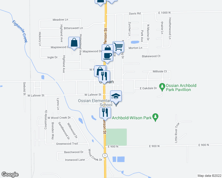 map of restaurants, bars, coffee shops, grocery stores, and more near 106 South Metts Street in Ossian