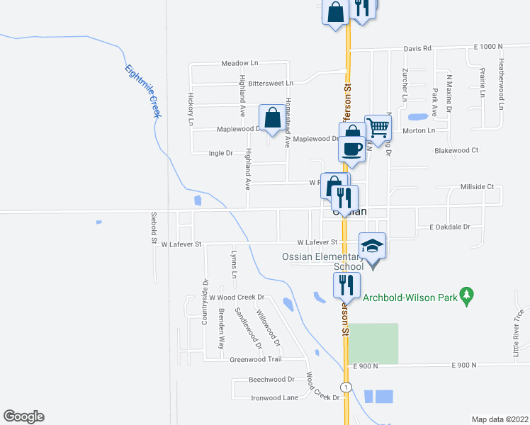 map of restaurants, bars, coffee shops, grocery stores, and more near 409 West Mill Street in Ossian