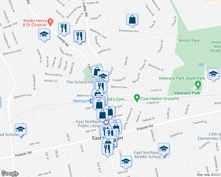 map of restaurants, bars, coffee shops, grocery stores, and more near 16 Melrose Avenue in East Northport