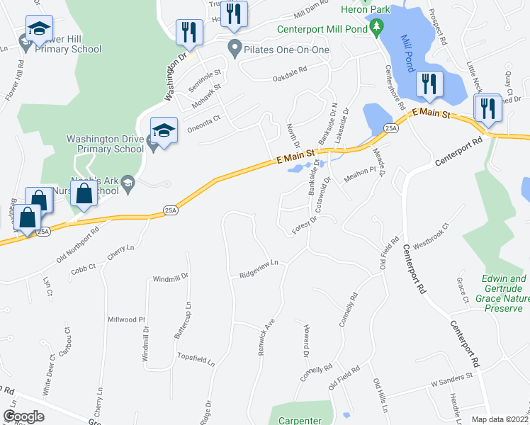 map of restaurants, bars, coffee shops, grocery stores, and more near 73 Salem Ridge Drive in Huntington
