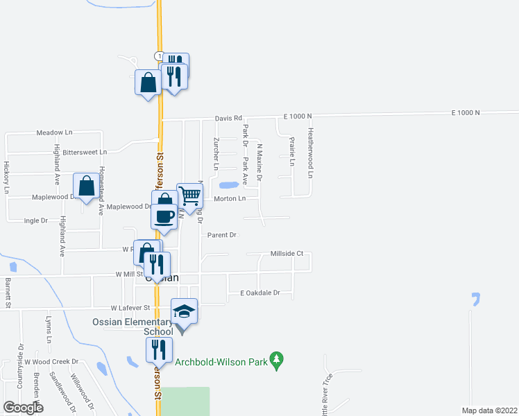 map of restaurants, bars, coffee shops, grocery stores, and more near North Maxine Drive in Ossian