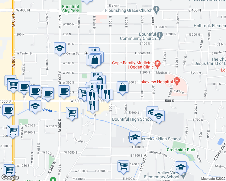 map of restaurants, bars, coffee shops, grocery stores, and more near 107 400 South in Bountiful