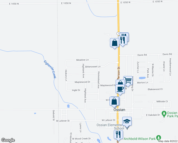 map of restaurants, bars, coffee shops, grocery stores, and more near 422 Shady Lane in Ossian