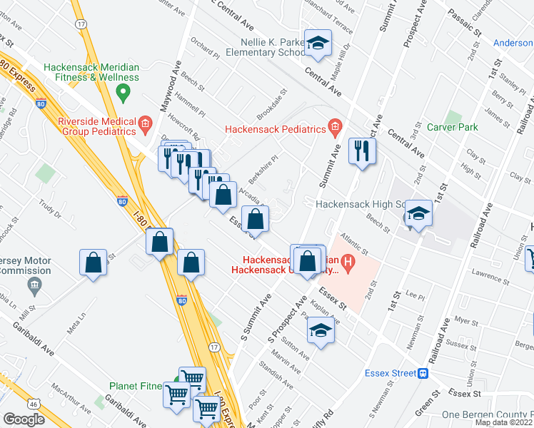 map of restaurants, bars, coffee shops, grocery stores, and more near 30 Arcadia Road in Hackensack