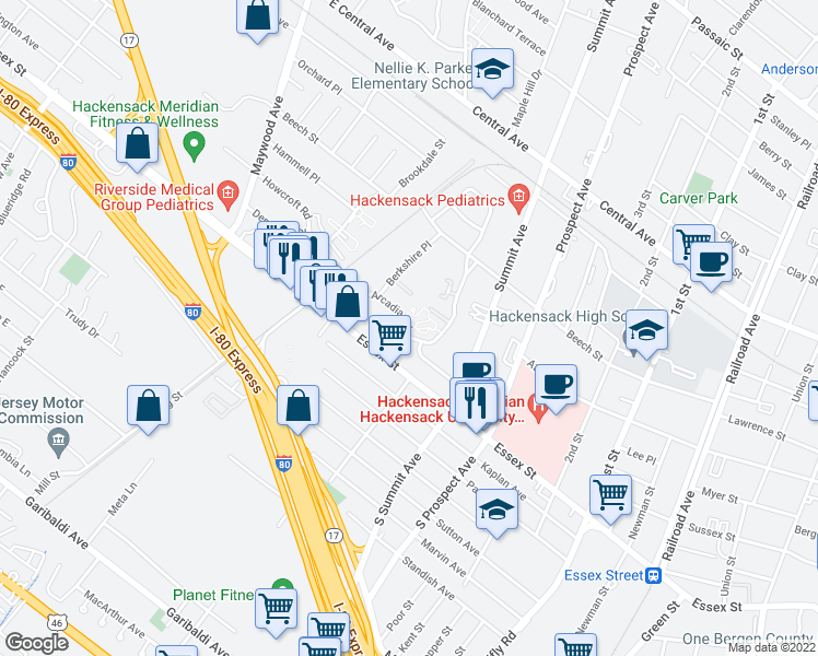 map of restaurants, bars, coffee shops, grocery stores, and more near 40 Arcadia Road in Hackensack