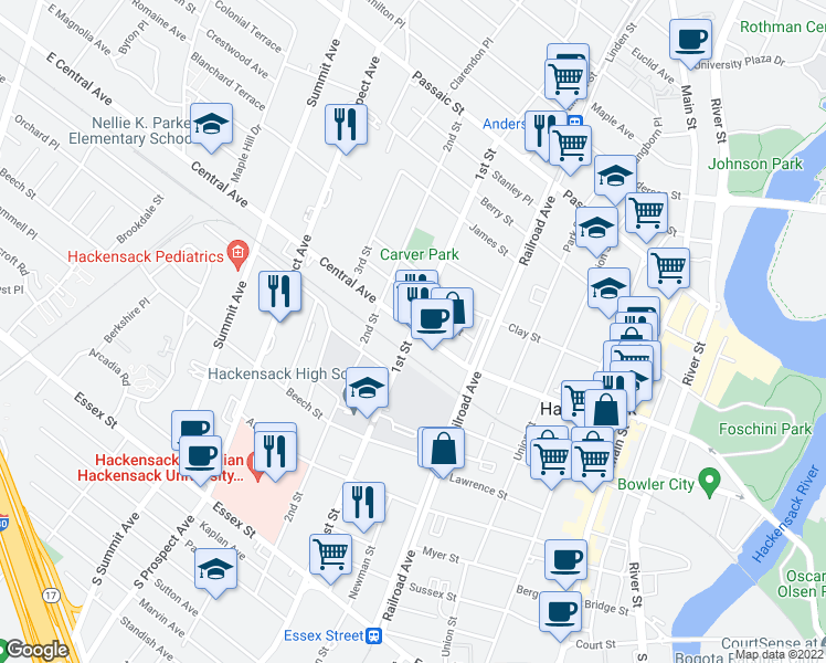 map of restaurants, bars, coffee shops, grocery stores, and more near 220-234 Central Avenue in Hackensack