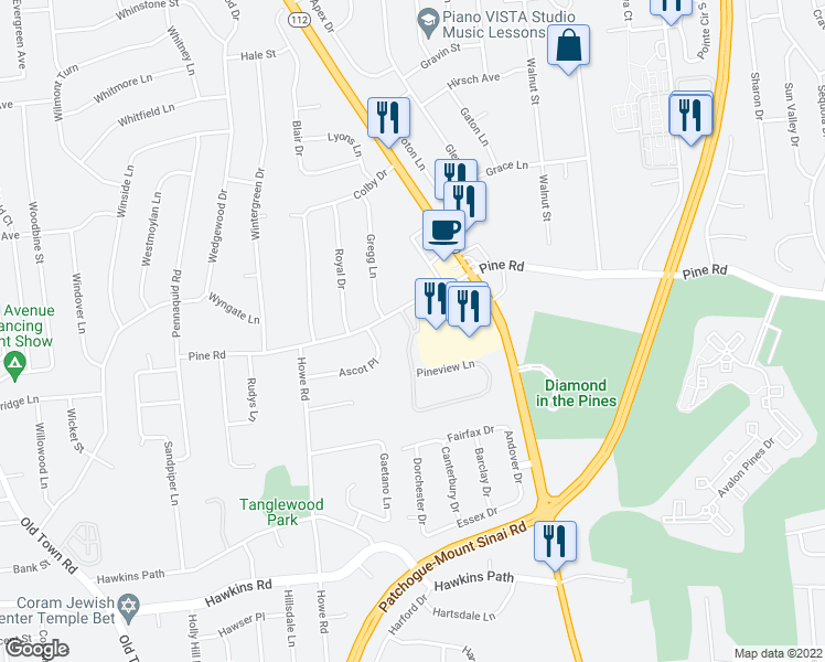 map of restaurants, bars, coffee shops, grocery stores, and more near Pineview Lane in Coram