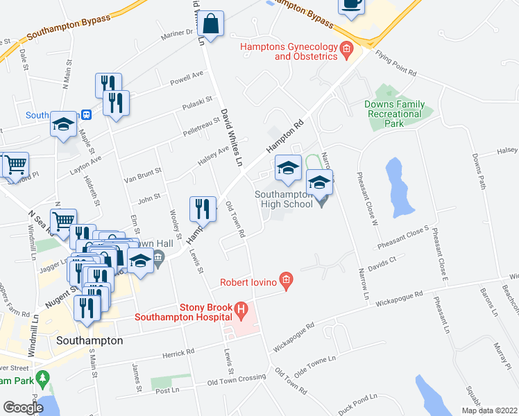 map of restaurants, bars, coffee shops, grocery stores, and more near 71 Leland Lane in Southampton