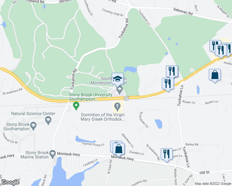 map of restaurants, bars, coffee shops, grocery stores, and more near Southampton Bypass in Southampton