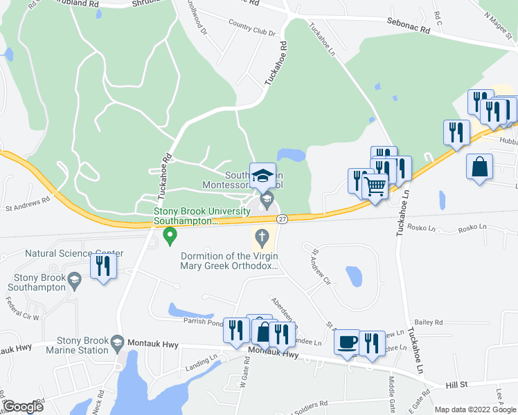 map of restaurants, bars, coffee shops, grocery stores, and more near POW/MIA Memorial Highway in Southampton