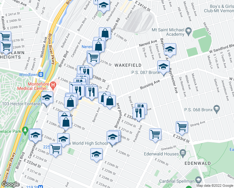 map of restaurants, bars, coffee shops, grocery stores, and more near 4210 Bronxwood Avenue in The Bronx