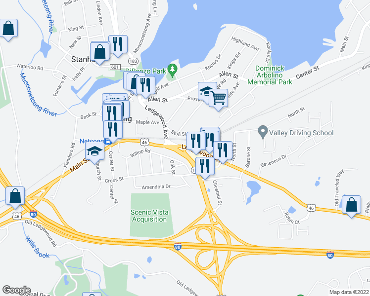map of restaurants, bars, coffee shops, grocery stores, and more near 120 Route 46 in Netcong