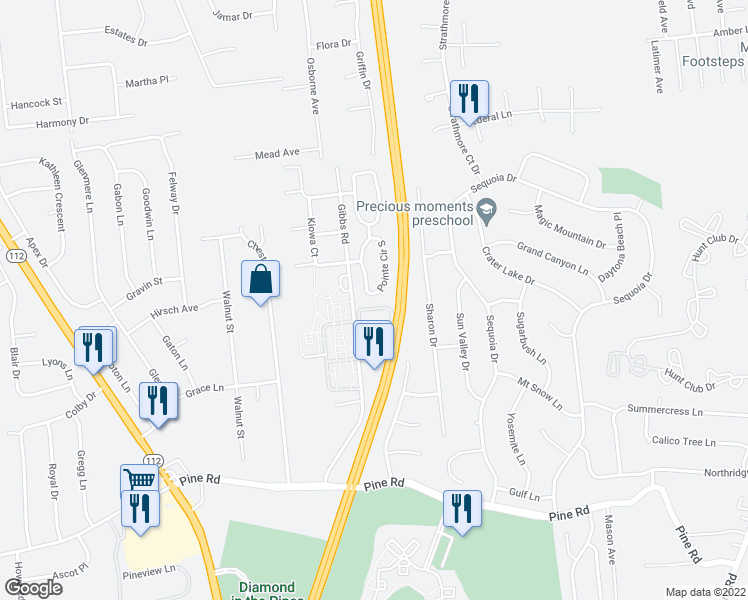 map of restaurants, bars, coffee shops, grocery stores, and more near 43 Pointe Circle South in Coram