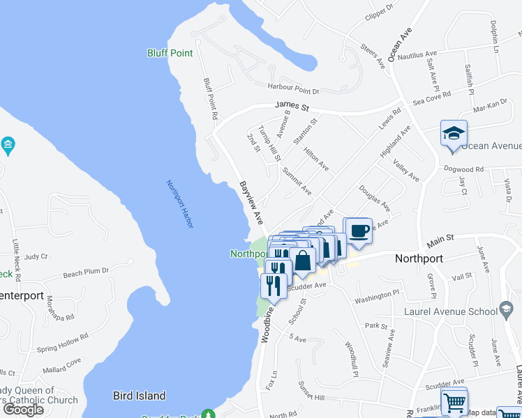 map of restaurants, bars, coffee shops, grocery stores, and more near 94 Bayview Avenue in Northport