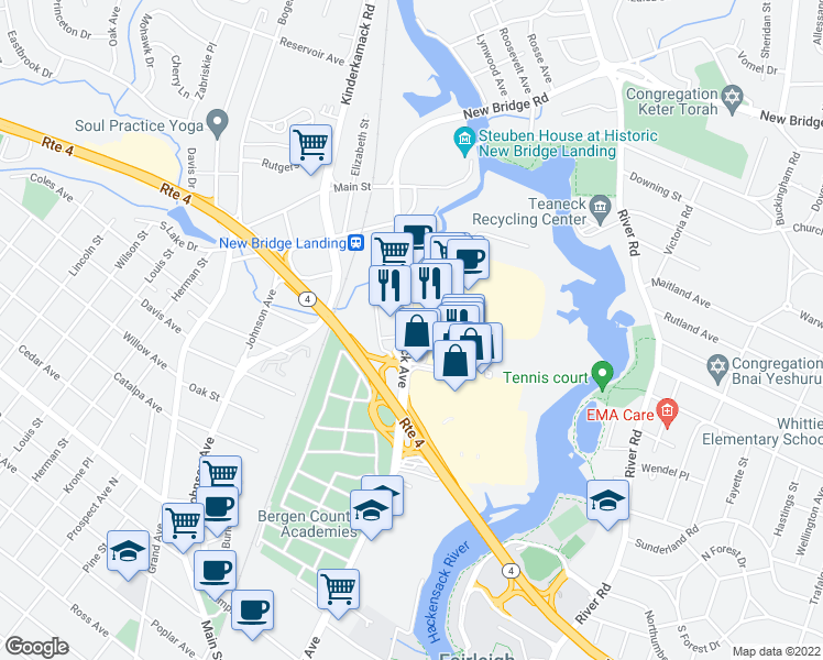 map of restaurants, bars, coffee shops, grocery stores, and more near Riverside Square Mall in Hackensack