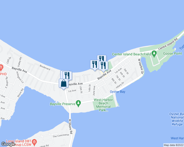 map of restaurants, bars, coffee shops, grocery stores, and more near 10 Ships Lane in Bayville