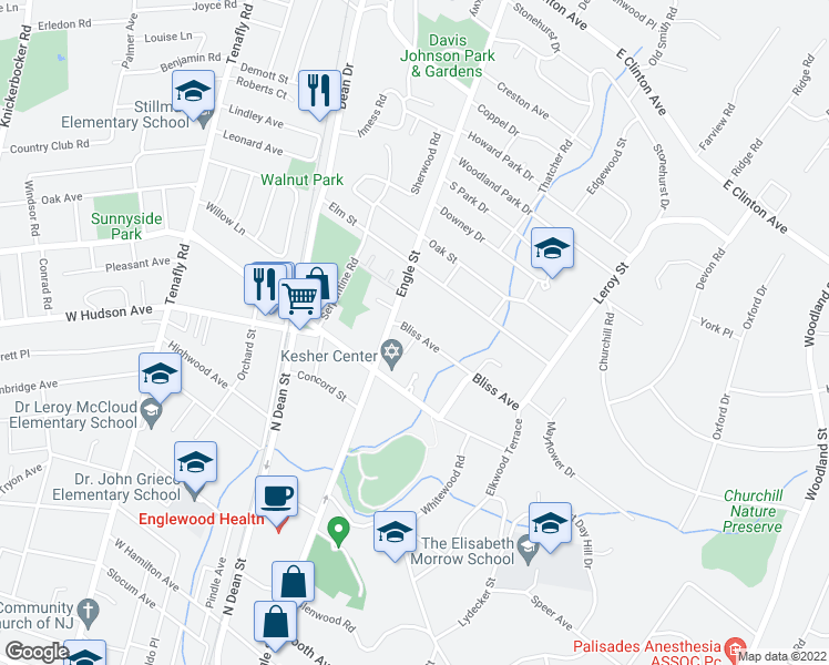 map of restaurants, bars, coffee shops, grocery stores, and more near 14 Bliss Avenue in Tenafly