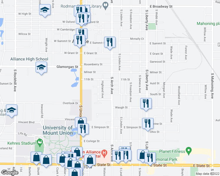 map of restaurants, bars, coffee shops, grocery stores, and more near 1205 S Arch Ave in Alliance
