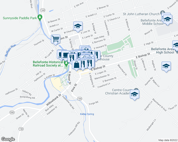 map of restaurants, bars, coffee shops, grocery stores, and more near 207 South Allegheny Street in Bellefonte
